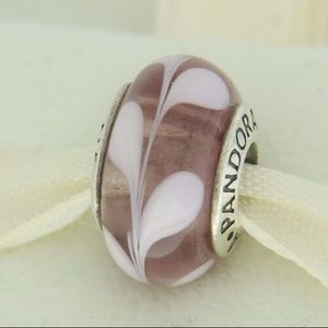 Pandora murano glass charm. Purple pink